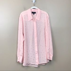 Lane Bryant sheer pink gold polkadot top 22/24